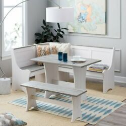 3 Pc White Gray Top Breakfast Nook Dining Set Corner Booth Bench Kitchen Table