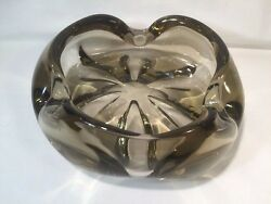 Orrefors Swedish Charcoal Glass Bowl Candy Dish Flower Rolled Edge 8 Ref W888