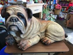 Large Dog Figure Bull Dog Canine Ceramic Statue Brown Local Pick Up Only