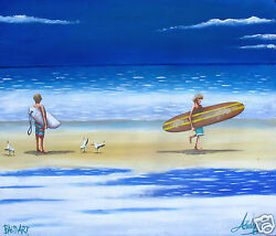 canvas beach Surfers Paradise beach life australia painting print by andy baker AU $44.99