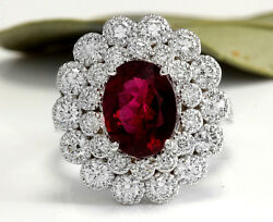 4.00 Carats Natural Tourmaline And Diamond 14k Solid White Gold Ring