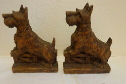 Rare Orna Wood Scottish Terrier Bookends Franklin Roosevelt's Scotty Dog
