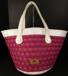 Elaine Turner Fuchsia Straw Patent Leather Beach Tote Hand Bag Purse