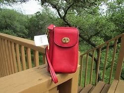 Coach Red Leather Zip Around Wallet Wristlet Phone Case ID Holder F50070 NWT