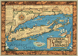 1930s Pictorial Map Of Long Island - Historic Wall Print Poster Vintage History