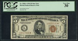 Fr2301 1934 5 Hawaii Star Note Pcgs 30 Choice Vf 24 Recorded Ext Rare Wlm5115