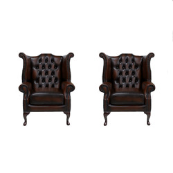 Chesterfield 2 X Handmade Queen Anne Chairs Leather Sofa Suite Offer Antique