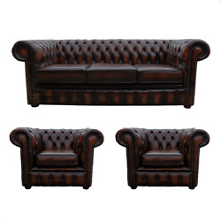 Chesterfield 3 Seater Sofa + 2 X Club Chairs Real Leather Handmade Sofa Suite