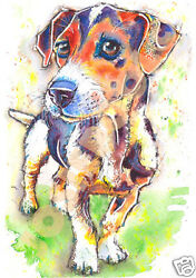 JACK RUSSELL TERRIER Dog PRINT Art by Josie P from ORIGINAL WATERCOLOUR Painting