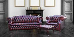 Chesterfield Windsor 3 Seater + Club Chair +footstool Genuine Leather Sofa Suite
