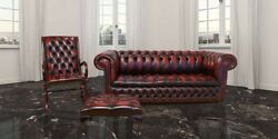 Chesterfield 3+ York Slipper+footstool Real 100 Leather Handmade Sofa Suite