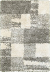Ivory Shag/flokati Synthetics Patches Cubes Faded Area Rug Geometric 5502h