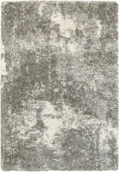Gray Shag/flokati Machine Made Faded Shaded Distressed Area Rug Solid 5503h