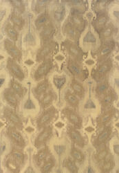 Ivory Ikat Southwestern Striped Muted Transitional Area Rug Abstract 68004
