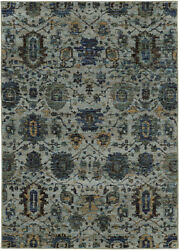 Blue Scrolls Vines Bulbs Ovals Transitional Area Rug Floral 7120A