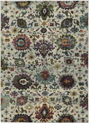 Gray Buds Bulbs Vines Scrolls Transitional Area Rug Floral 7129A
