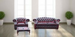 Chesterfield Buckingham 2 Seater + Club Chair + Footstool Leather Sofa Suite