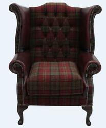 Chesterfield Queen Anne Wing Chair Oxblood Red Leather And Lana Terracotta Fabric