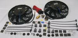 Dual 9 Curved S-blade Electric Radiator Cooling Fans + Thermostat Install Kit