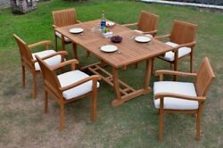 Grade-a Teak Wood Napa 7pc Dining 94 Mas Rectangle Table Stacking Arm Chair Set