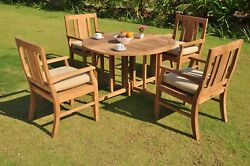 A-grade Teak Wood Osborne 5pc Dining 48 Round Butterfly Table 4 Arm Chair Set