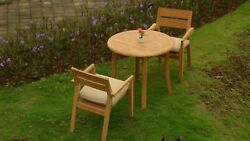 A-grade Teak Wood Vellore 3 Pc Dining 36 Round Table Arm Stacking Chair Set