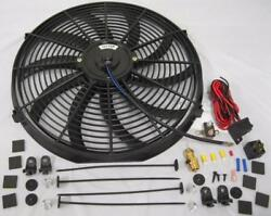 16 Electric Curved S-blade Cooling Radiator Fan + 210 Deg Thermostat Mount Kit