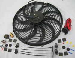 16 Electric S-blade Extreme Duty Cooling Radiator Fan + Thermostat Relay Kit