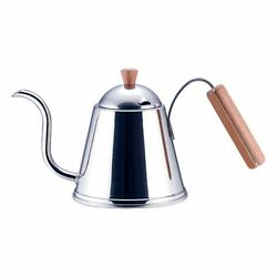 New Yoshikawa Kettle Stainless Steel SH7090 Cafe time wooden handle drip pot