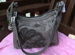 $425 NWT BRIGHTON FELICITY EMBROIDERED FLOWER SIQUENS BROWN LTH  XBODY BAG
