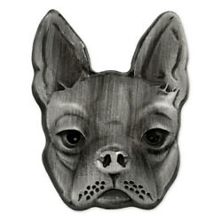 PinMart's Silver 3D Boston Terrier Dog Breed Dog Lover Lapel Pin