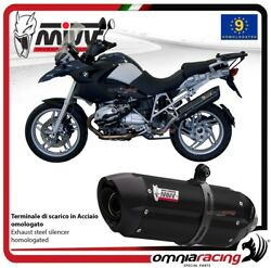 MIVV SUONO exhaust slip-on homologated black inox for BMW R1200GS 2008