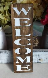 Welcome Wood Sign Front Door Entry Rustic Farmhouse Porch Decor Small 12 Inch