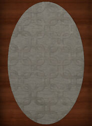 Gray Transitional Hand Hooked Loops Rounded Squares Area Rug Geometric Dv7