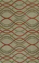 Beige Curves Waves Swirls Angles Contemporary Area Rug Geometric So43