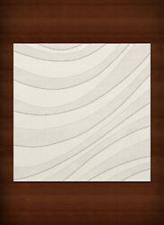 White Transitional Hand Hooked Swirls Stripes Lines Area Rug Abstract Dv12