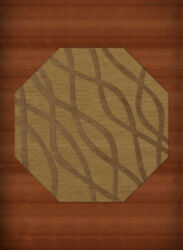 Yellow Transitional Hand Hooked Waves Lines Stripes Area Rug Abstract Dv10