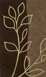 Brown Swirls Leaves Vines Flowers Transitional Area Rug Floral Tr16