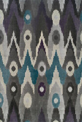 Gray Contemporary Synthetics Circles Ikat Tie-dye Area Rug Striped Gt116gr