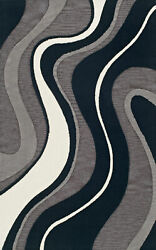 Gray Swirls Curves Lines Waves Transitional Area Rug Abstract Tr19