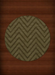 Green Transitional Hand Hooked Stripes Chevrons Zig Zags Area Rug Striped Dv4