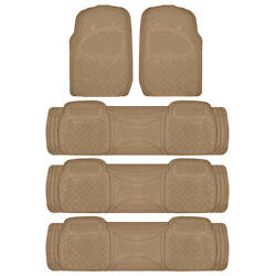Heavy Duty Beige Car Floor Mats And Liners - Hd All Weather Rubber 5pc