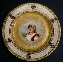 Hand Painted Porcelain Royal Vienna Portrait Plate Of Lady - Rosita