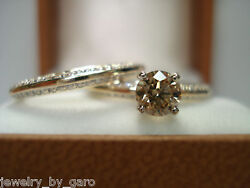 Champagne Brown Diamond Engagement Ring Wedding Band Sets 14k Yellow Gold 1.03ct