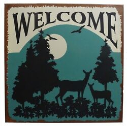 Welcome Nature Calls Wildlife The Great Outdoors Distressed Metal Sign