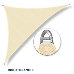 Beige Right Triangle 16-22ft Heavy Duty Steel Cable Wire Sun Shade Sail Patio