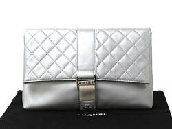 Auth CHANEL Matelasse Clutch Bag Metallic Silver Leather - 93673