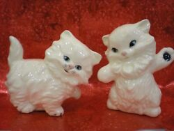 Set of Two White Ceramic Happy Cat Kitten Figurines With Blue Eyes