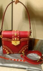 Authentic!! $3100 PRADA Saffiano Leather Metal Studs Golden Turn Lock Bag NEW!!