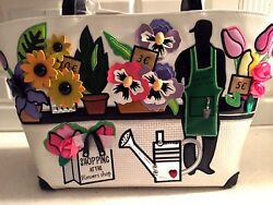 NEW! ITALIAN DESIGNER BRACCIALINI CARTOLINE TUA FLOWER SHOP TOTE HAND BAG $308